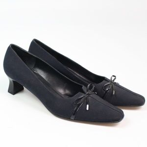 VANELi navy blue pump square toe chunky heel bow